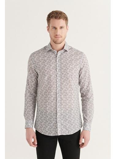 Avva AVVA Erkek Gri Baskılı Klasik Yaka Slim Fit Gömlek A11Y2046 Gri